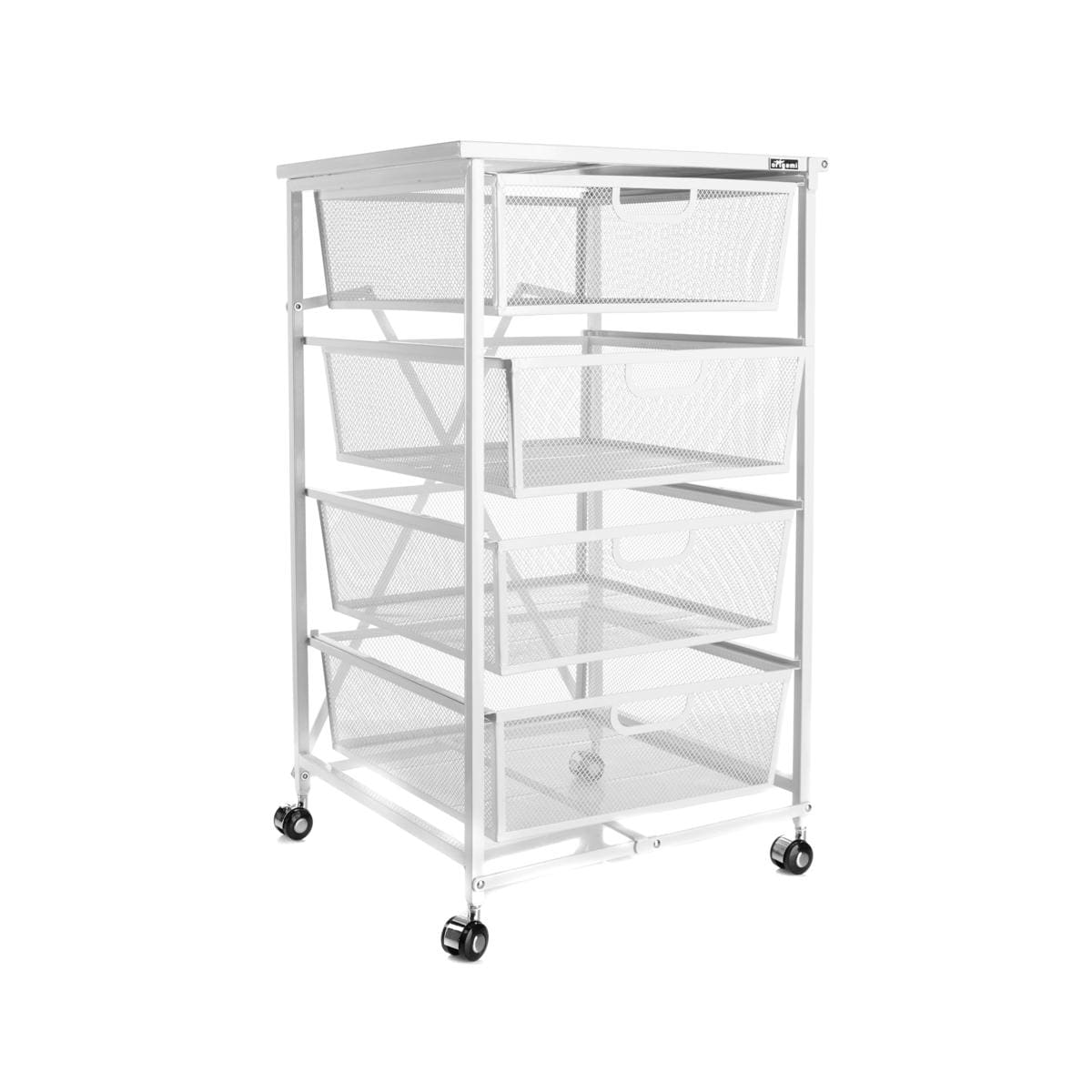 Kitchen Cart With Drawers: Origami 4-Drawer Kitchen Cart With Wood Shelf White NEW