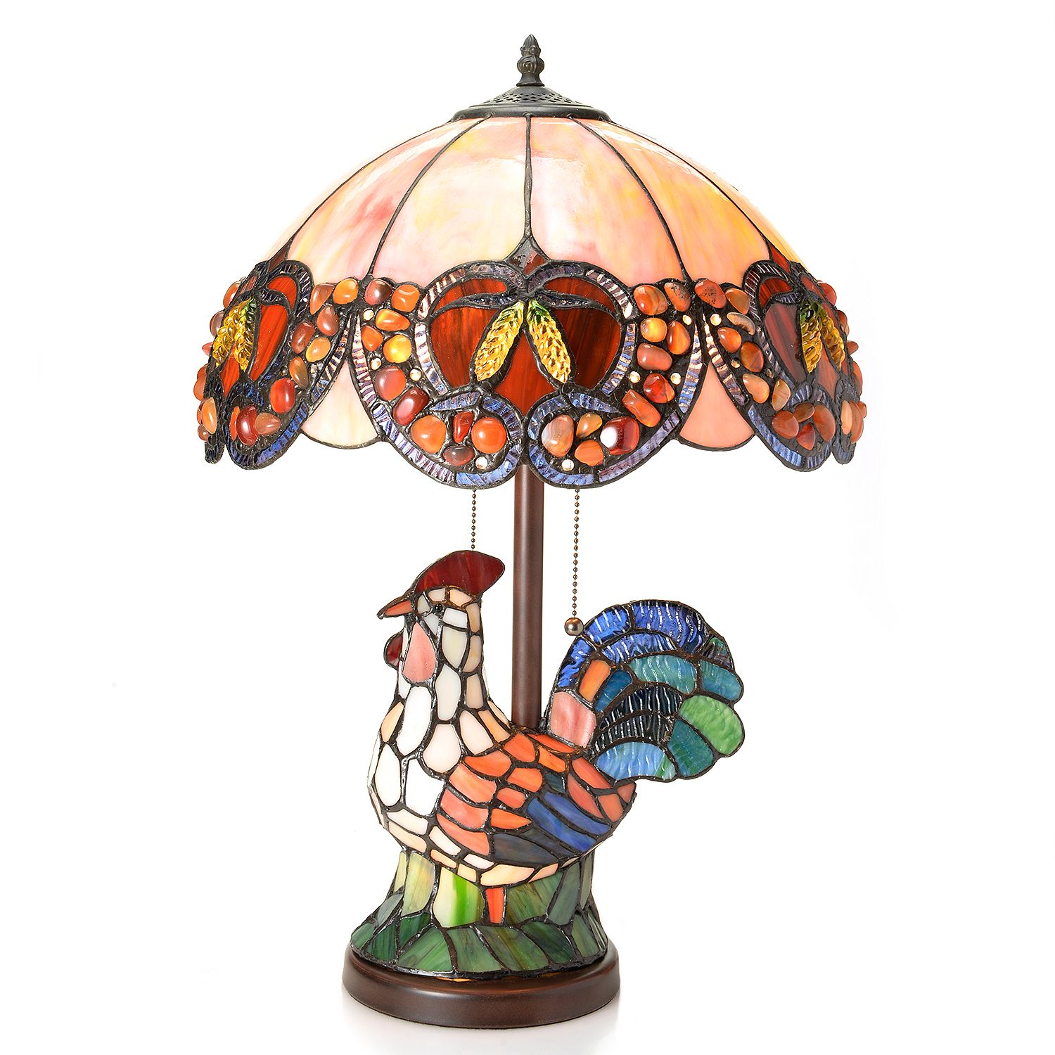 Tiffany Style 23 5 Quot Rockin Rooster Double Lit Stained